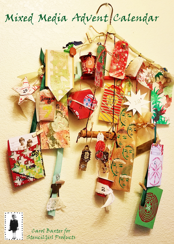mixed media stenciled advent calendar stencilgirl carol baxter.jpg